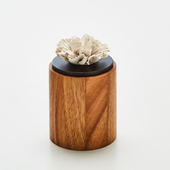 Cyla | Black and brown wooden decorative box with a white porcelain flower