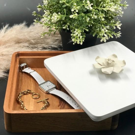 EPOK | Decorative box with a white porcelain Jasmin flower