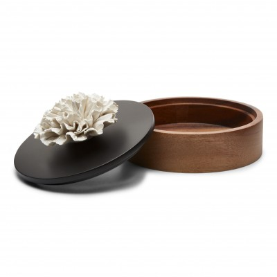 Chan | Black and brown wooden decorative box with a white ceramic flower