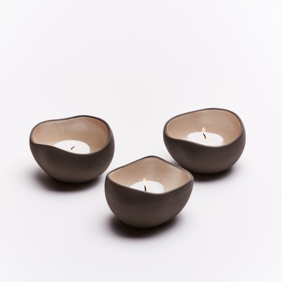 Candle holders Pearl | 3 pieces grey and white pearl cups