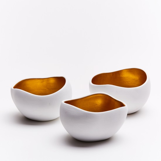 Candle holders Gold | 3 pieces gold and white cups